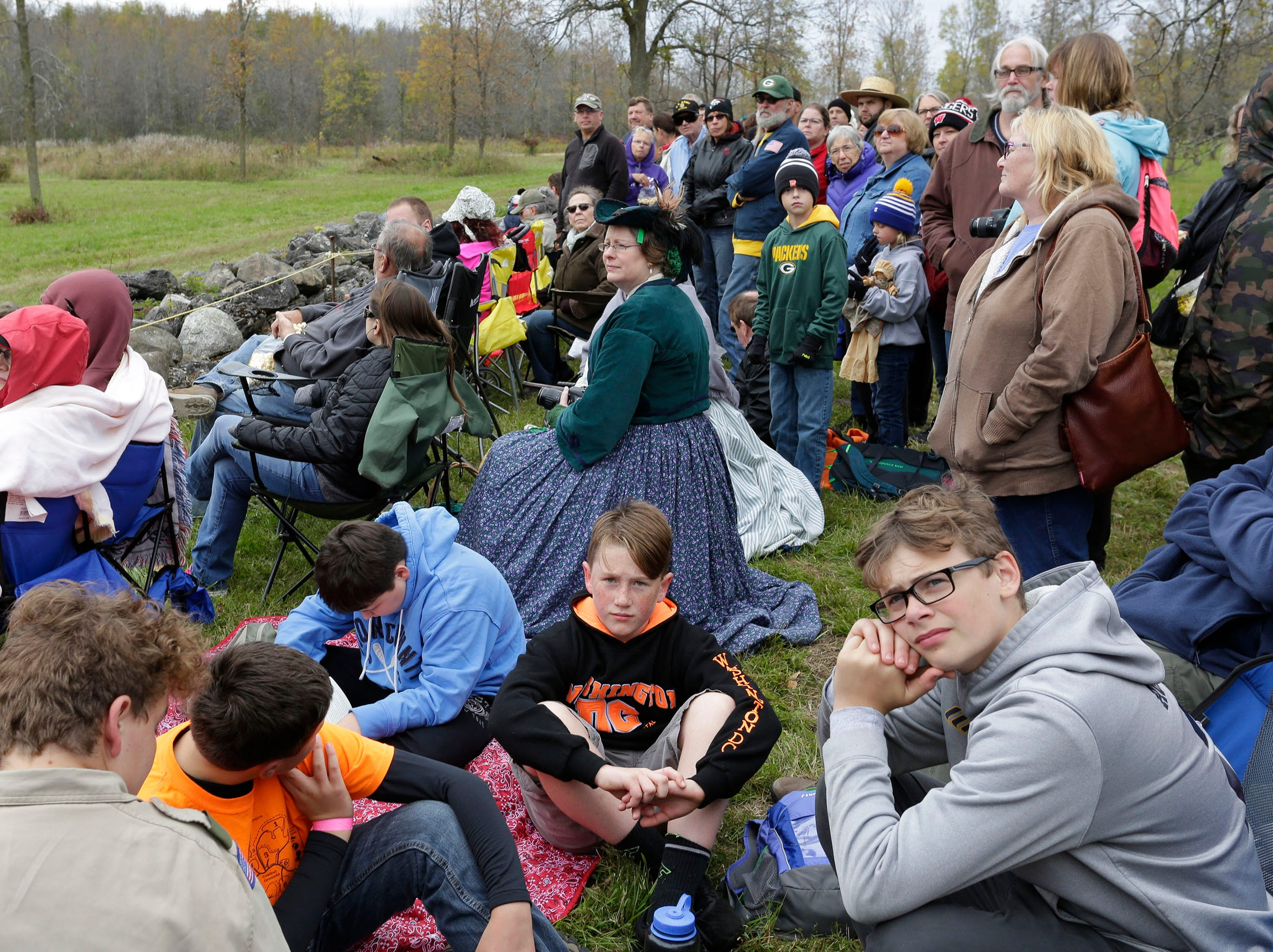Hundreds of people wait for the Civil War Weekend battle to begin at the Wade House, Saturday September 29, 2018, in Greenbush, Wis.