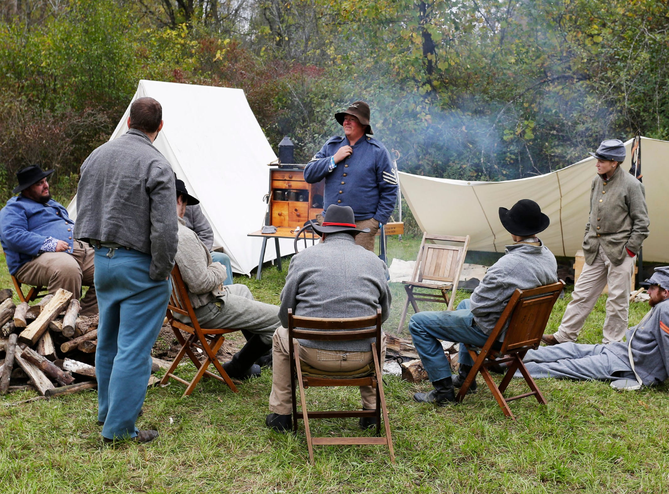 Confederate soldiers relax around camp during the Civil War Weekend at the Wade House, Saturday September 29, 2018, in Greenbush, Wis.