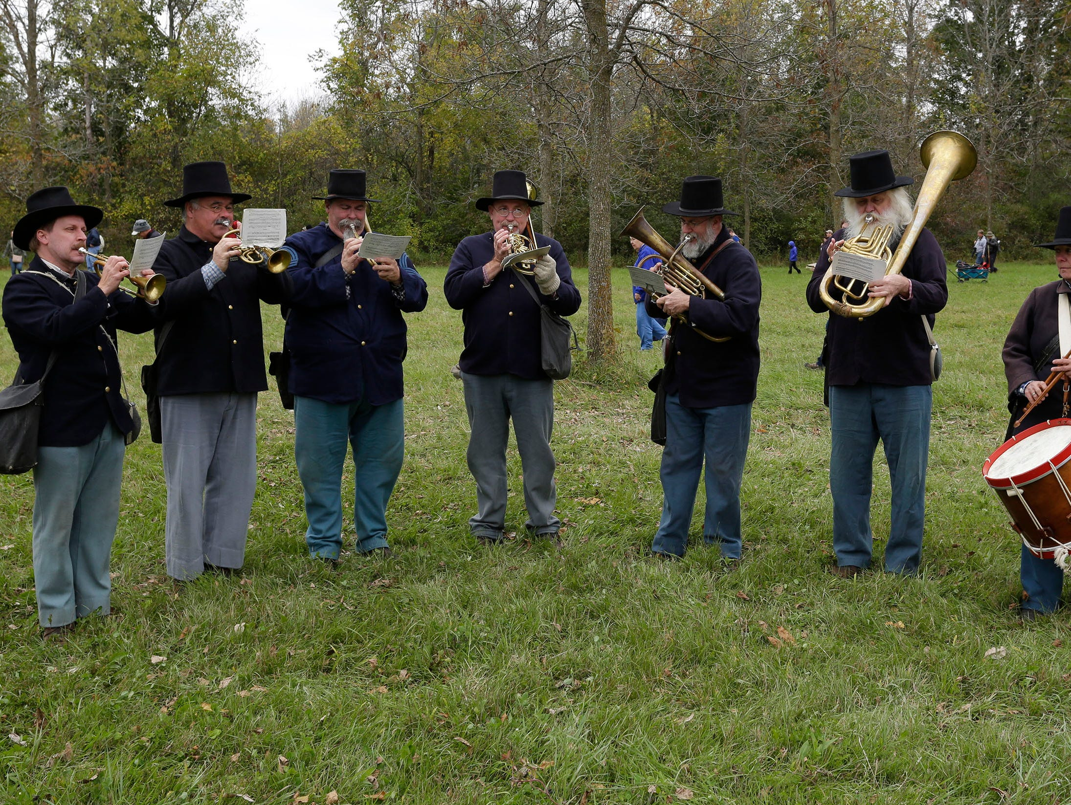 Union soldier band members perform following battle during the Civil War Weekend at the Wade House, Saturday September 29, 2018, in Greenbush, Wis.