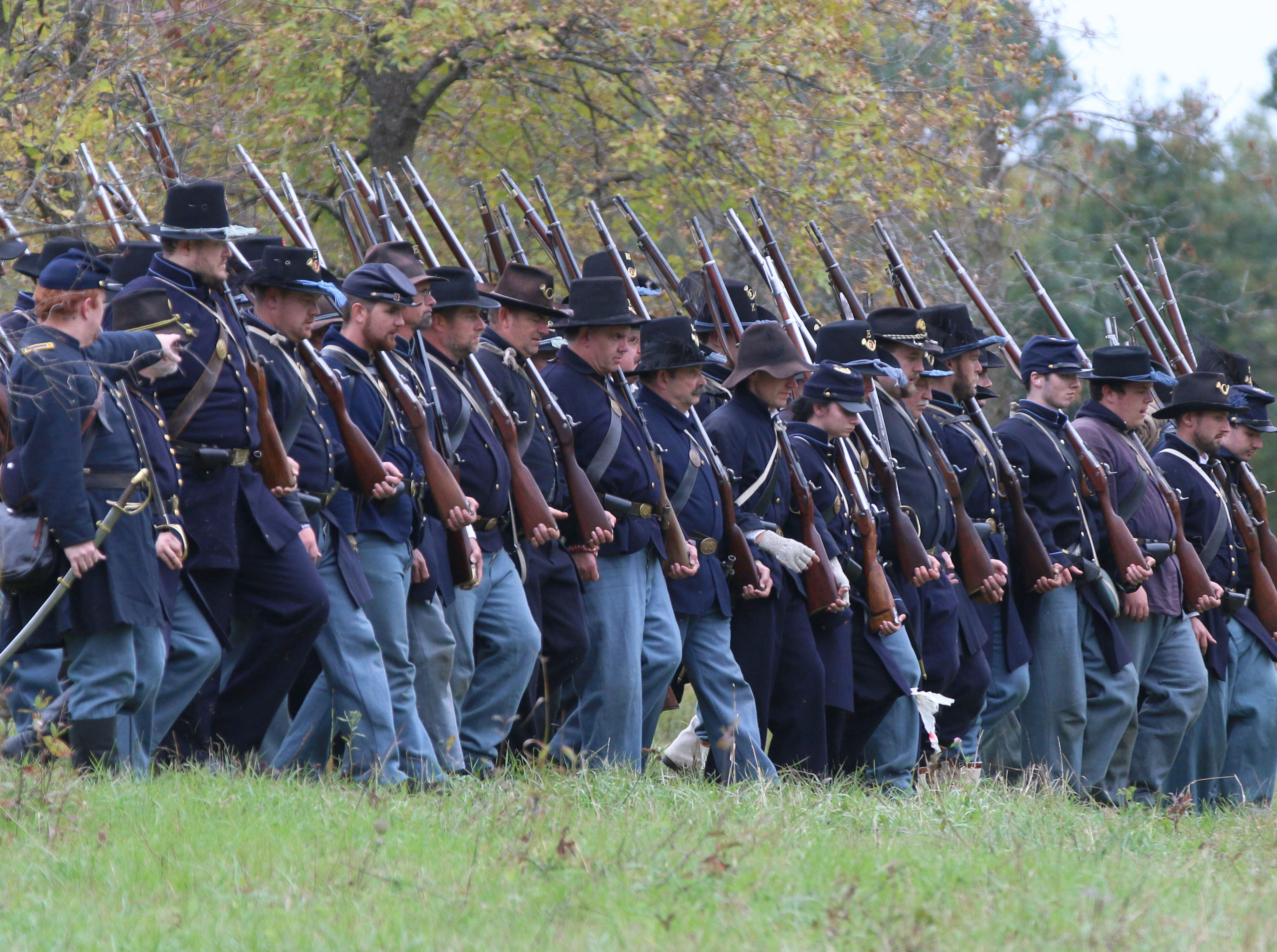 Union Soldiers march during the Civil War Weekend at the Wade House, Saturday September 29, 2018, in Greenbush, Wis.