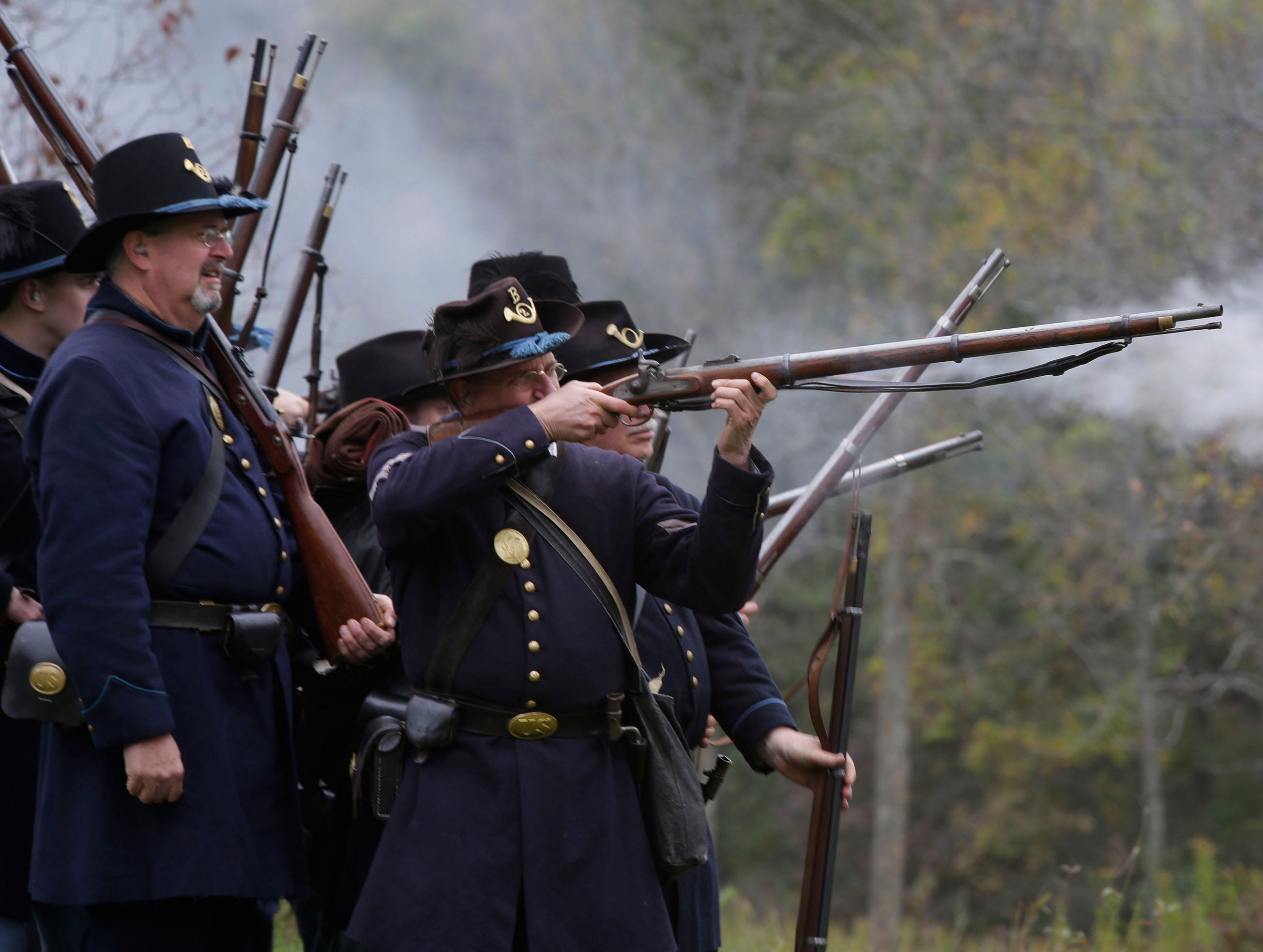 Union soldiers take aim during the Civil War Weekend at the Wade House, Saturday September 29, 2018, in Greenbush, Wis.