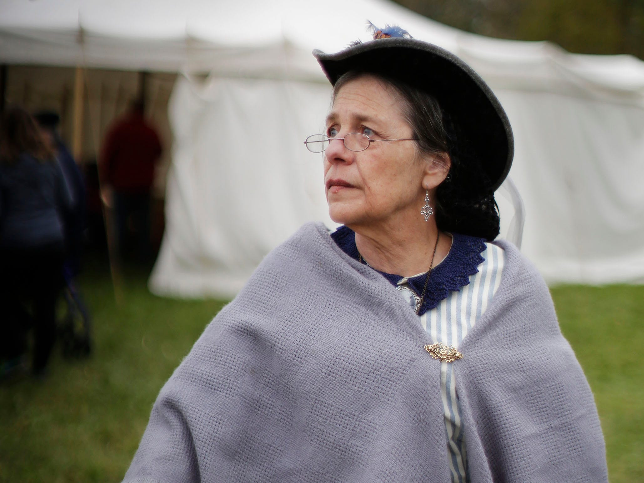 Kerry Kearney of Menomonee Falls wore an 1860s style dress during the Civil War Weekend, Saturday September 29, 2018, in Greenbush, Wis.
