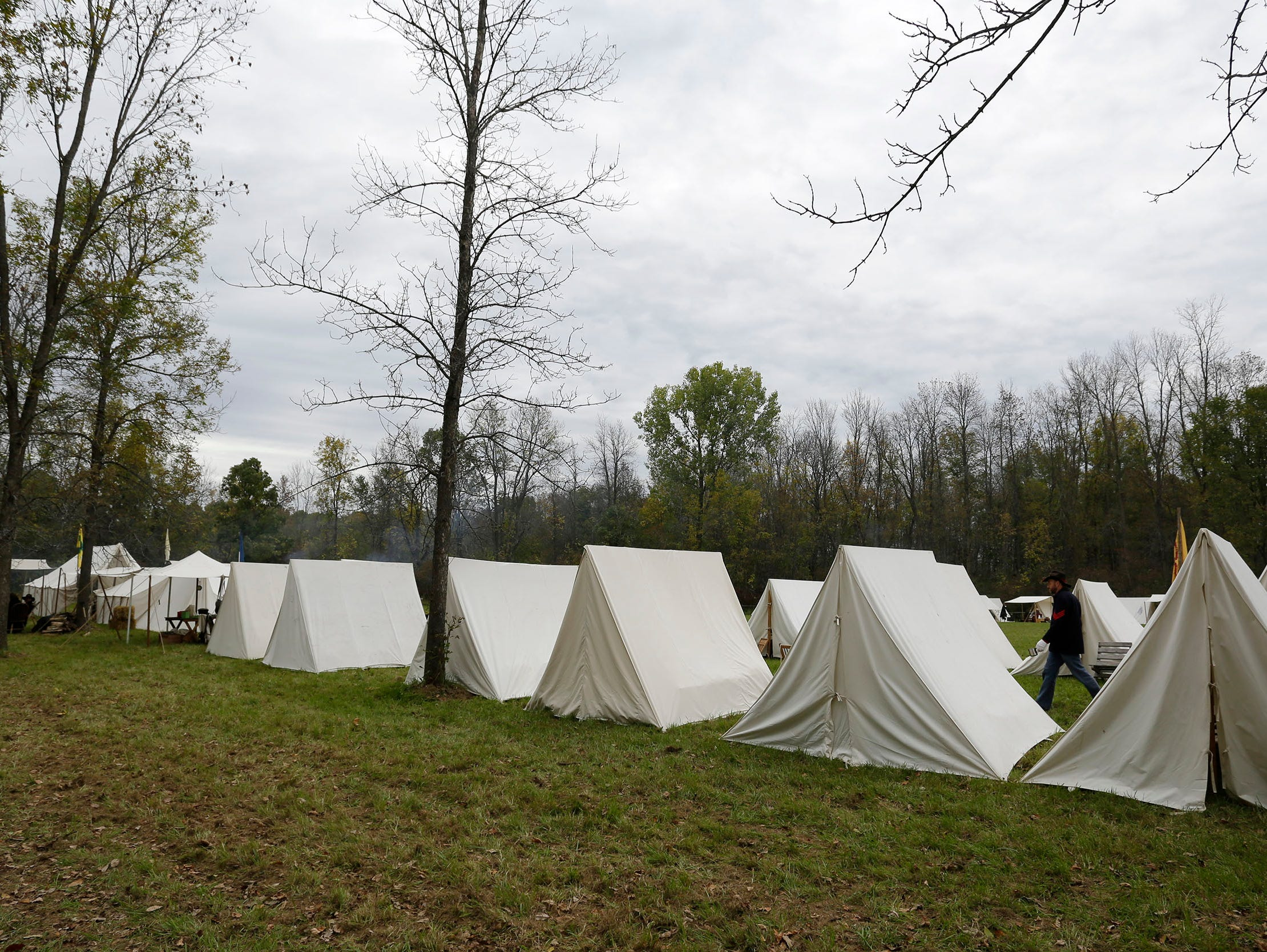 Reenactor soldier tents are neat in rows at the Civil War Weekend at the Wade HOuse,  Saturday September 29, 2018, in Greenbush, Wis.
