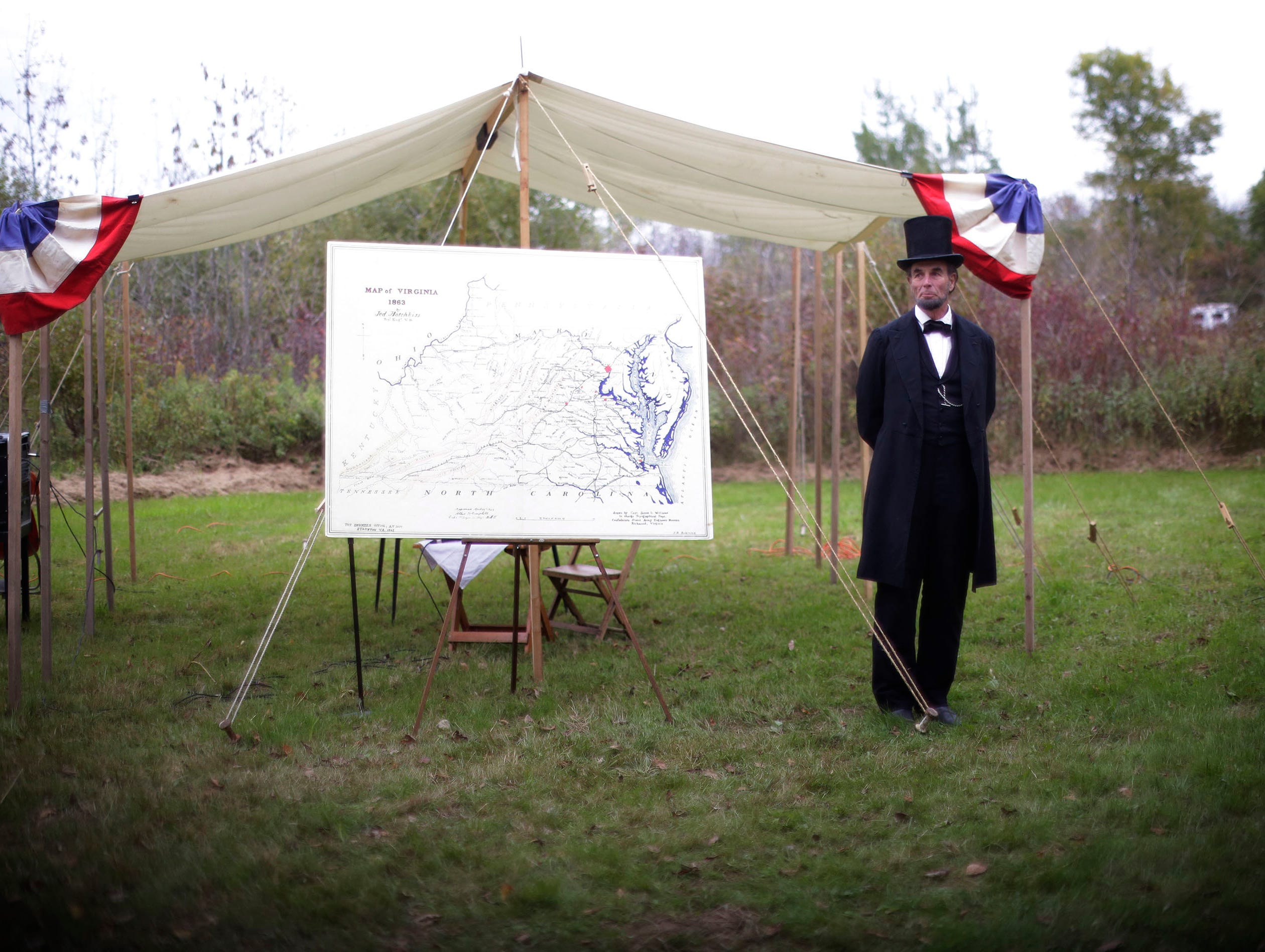 Abraham Lincoln reenactor Fritz Klein stands before starting his talk on Civil War history, Saturday September 29, 2018, in Greenbush, Wis.