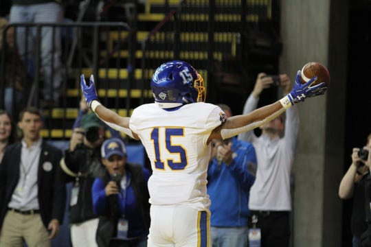South Dakota State's Cade Johnson celebrates his touchdown during the first quarter of the Jackrabbits' matchup against North Dakota State Saturday afternoon at the Fargodome in Fargo.