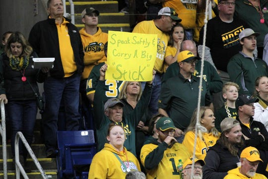 A North Dakota State fan holds up a sign that refers to Easton Stick, the starting quarterback for the Bison, during a quarter break at the matchup between #1-ranked North Dakota State and #3-ranked South Dakota State Saturday afternoon at the Fargodome in Fargo.