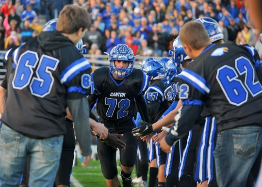 Canton's Dawson Rozeboom is introduced prior to the start of a game against Bridgewater-Emery/Ethan on Friday, Sept. 28, 2018, in Canton.