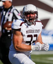 Skyler Hulse celebrates a sack during the Missouri State Bears win over the Illinois State Redbirds 24-21 at Plaster Stadium on Saturday, Sept. 29, 2018.