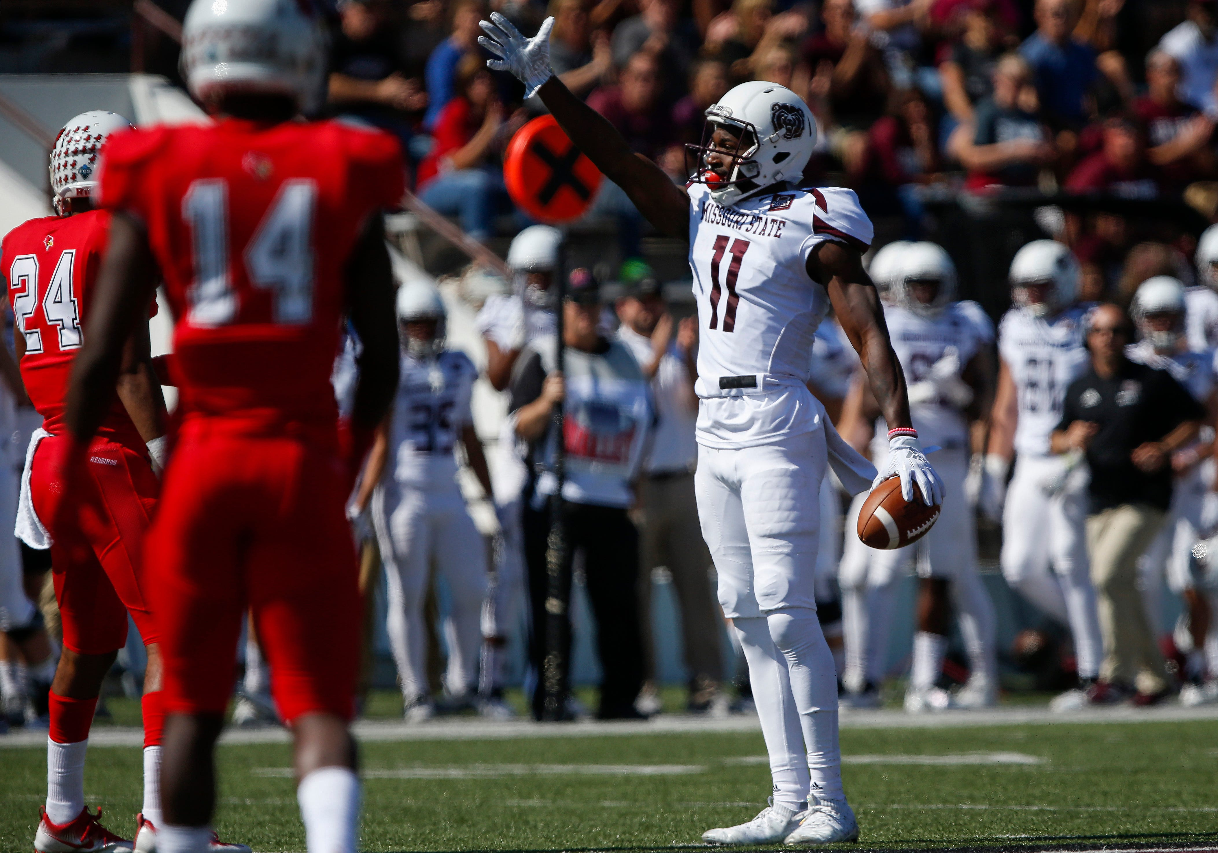 Tyler Currie points to indicate a first down during the Missouri State Bears' game against the Illinois State Redbirds at Plaster Stadium on Saturday, Sept. 29, 2018.