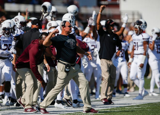 Head coach Dave Steckel celebrates a field goal during the Missouri State Bears' game against the Illinois State Redbirds at Plaster Stadium on Saturday, Sept. 29, 2018.