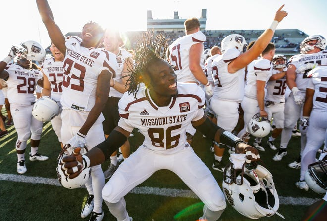 Missouri State players celebrate after they defeated the Illinois State Redbirds 24-21 at Plaster Stadium on Saturday, Sept. 29, 2018.