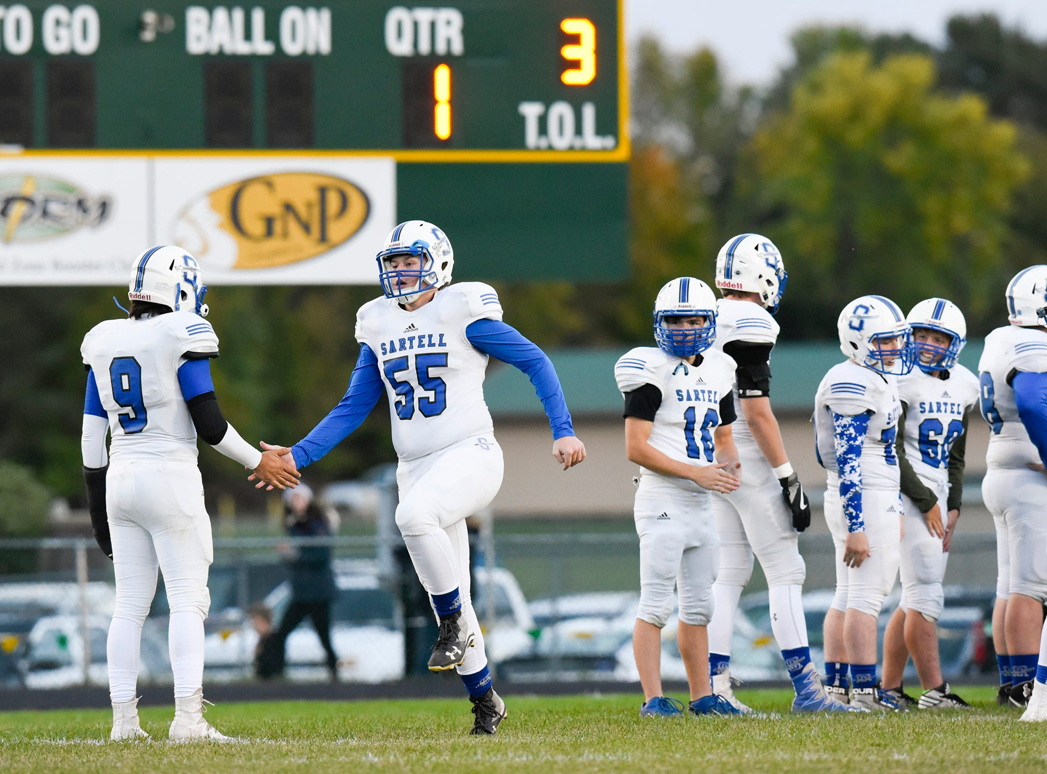 Sartell players are introduced before the start of the game against Sauk Rapids Friday, Sept. 28, in Sauk Rapids.
