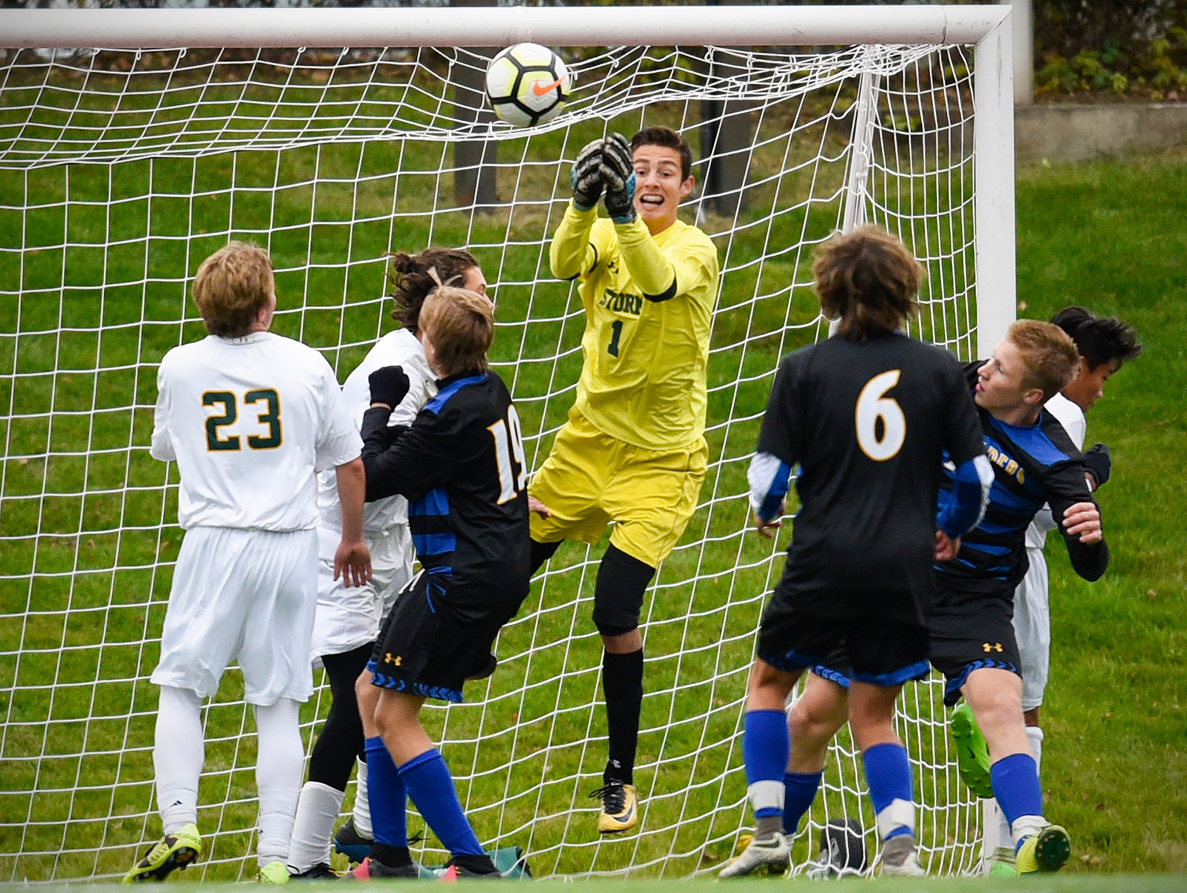 Sauk Rapids goalie Eli Rudnick makes a save against Cathedral during the first half Saturday, Sept. 29, at Husky Stadium.