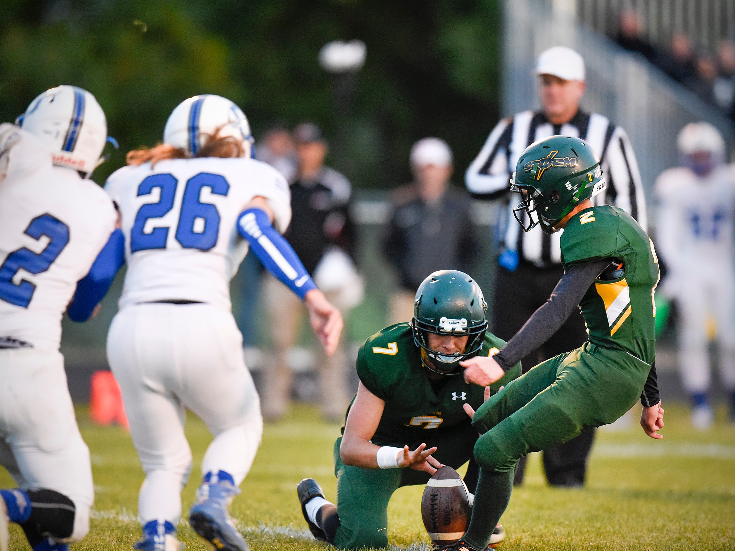 Sauk Rapids' Durham Welch kicks the extra point after scoring against Sartell during the first half Friday, Sept. 28, in Sauk Rapids.