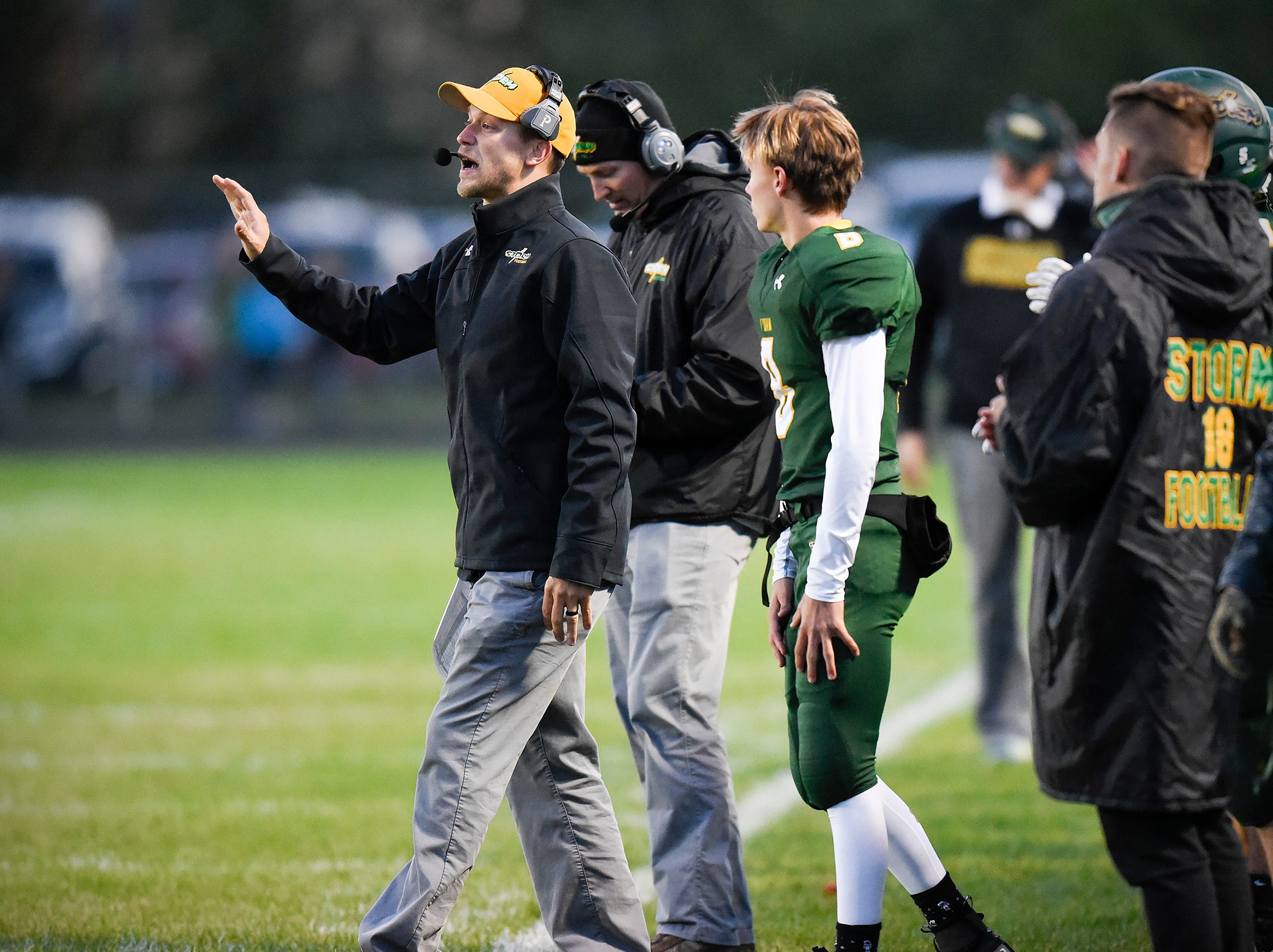 Sauk Rapids head coach Phillip Klaphake along the sidelines against Sartell during the first half Friday, Sept. 28, in Sauk Rapids.