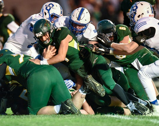 Sauk Rapids' Cade Milton-Baumgardner goes in to score against Sartell during the first half Friday, Sept. 28, in Sauk Rapids.