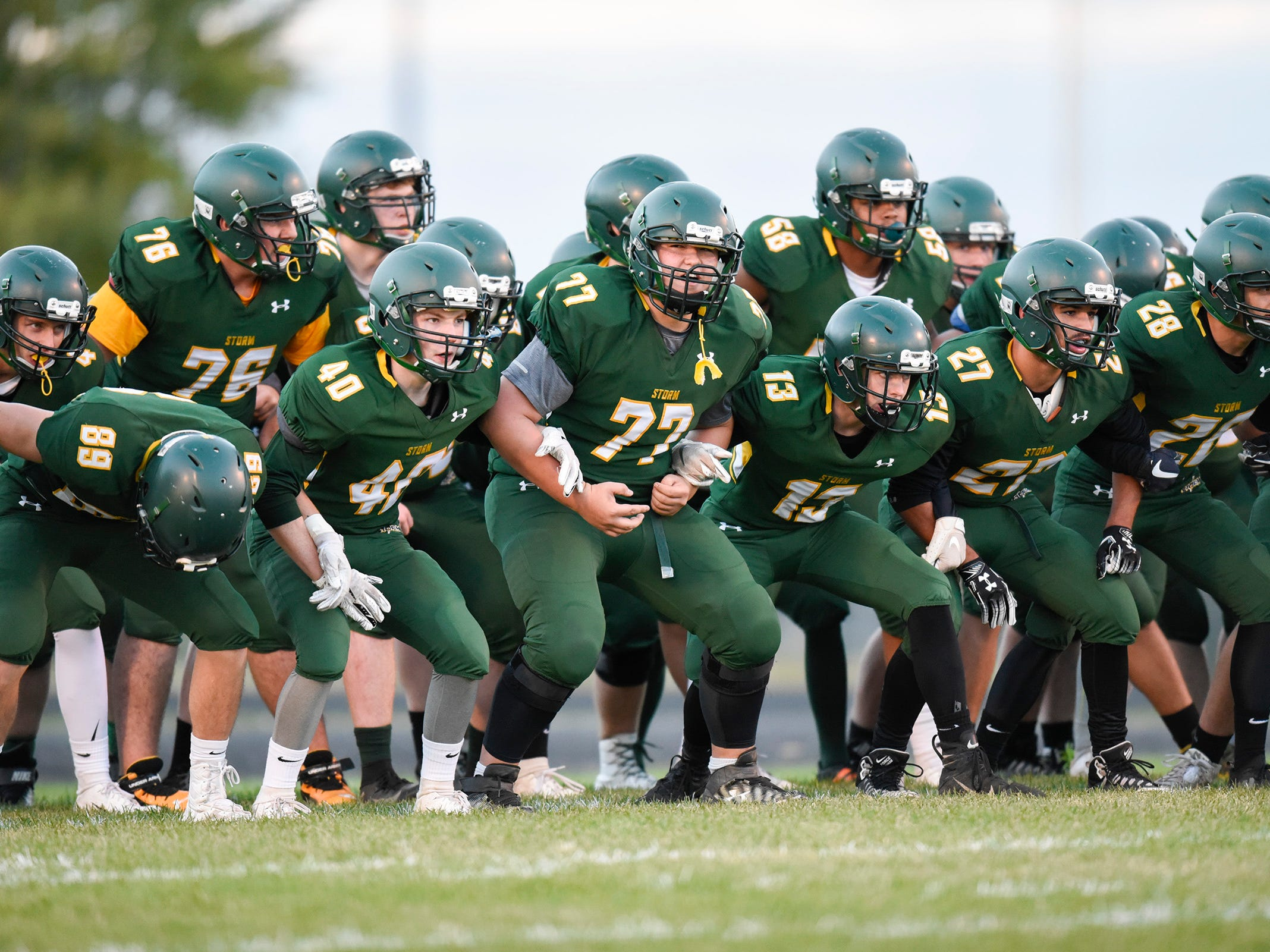 Sauk Rapids players get ready for the start of their game against Sartell Friday, Sept. 28, in Sauk Rapids.