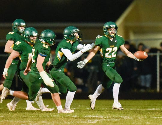 Sauk Rapids' Christian Rodriguez celebrates a touchdown after a blocked punt against Sartell during the first half Friday, Sept. 28, in Sauk Rapids.
