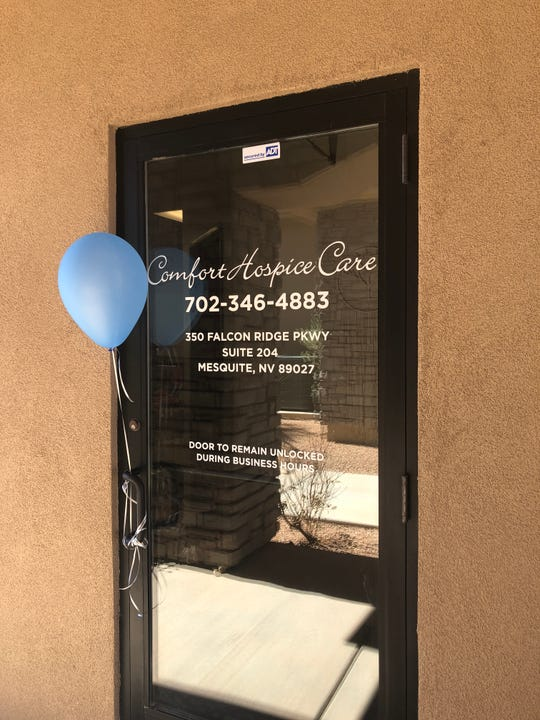 The entrance to the new Comfort Hospice Care facility at 350 Falcon Ridge Pkwy. in Mesquite.