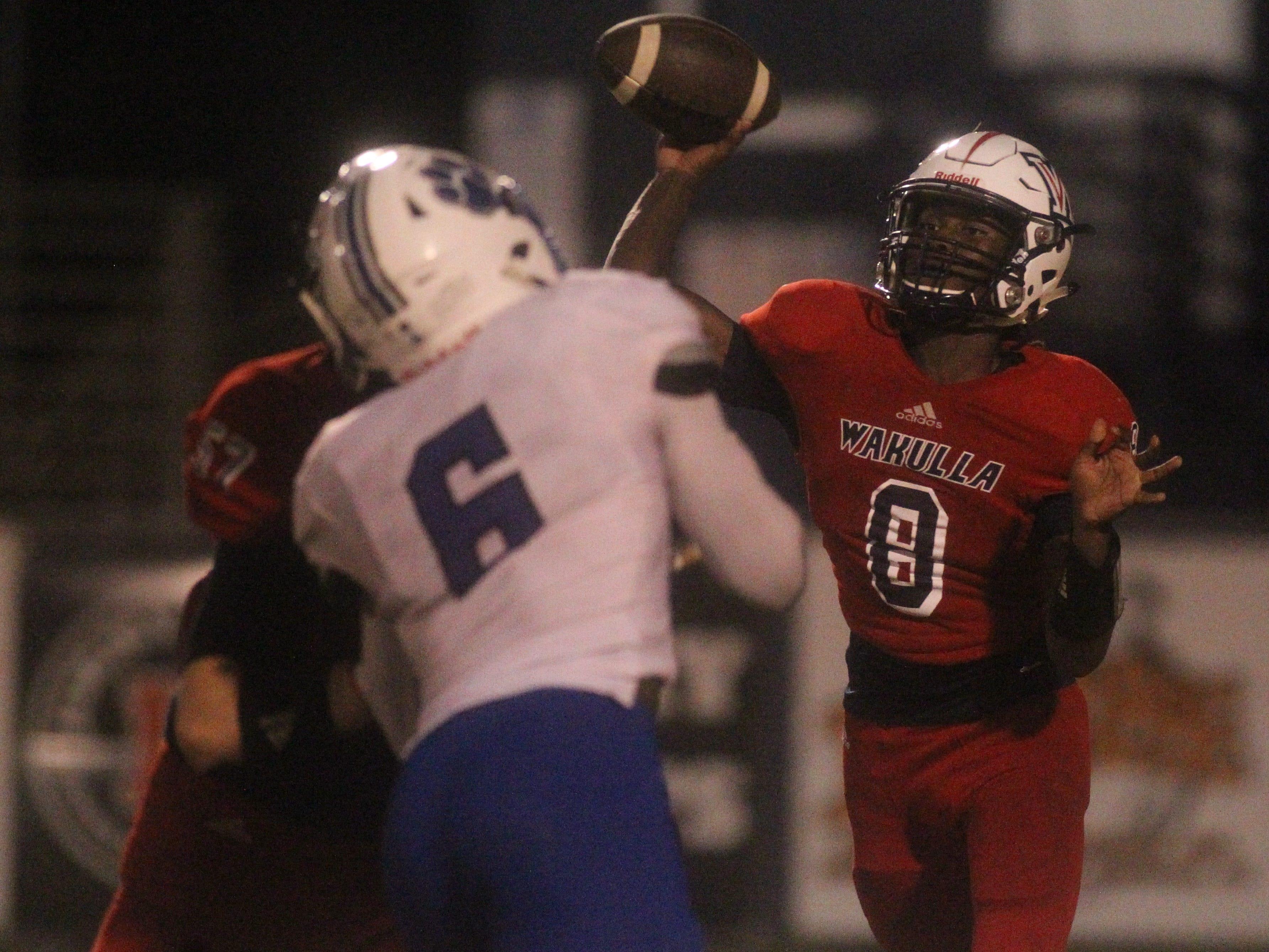 Wakulla quarterback Jaylon Worsham throws a pass as the Cougars beat Wakulla 37-13 on Friday night.