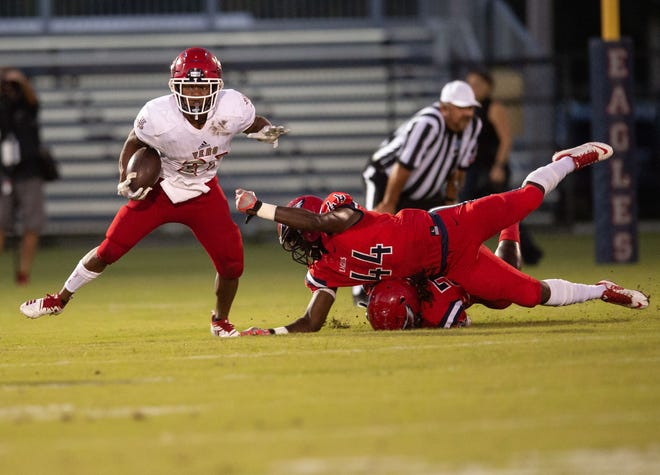 St. Lucie West Centennial plays against Vero Beach during the high school football game Friday, Sept. 28, 2018, at South County Stadium in Port St. Lucie.