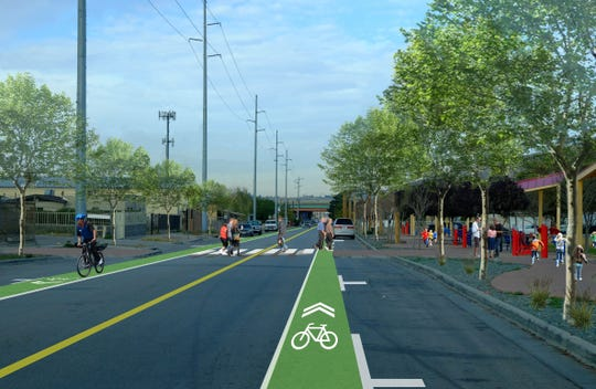A rendering of what an extended Durazno Avenue could look like in the future on the Medical Center of the Americas campus with bicycle lanes, landscaping and improved sidewalks and crosswalks.