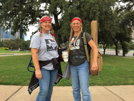 Jaci Elliott and Jennifer McIlwaine doing their best Beto-Willie impersonation. They were waiting for the Turn Out For Texas rally with U.S. Rep. Beto O'Rourke and country music star Willie Nelson.