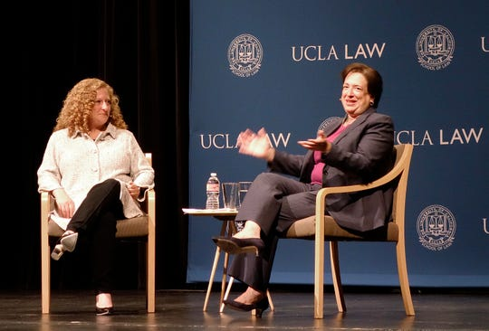 Supreme Court Justice Elena Kagan waits to begin a discussion with UCLA Law School Dean Jennifer Mnookin, left, on Thursday in Los Angeles.