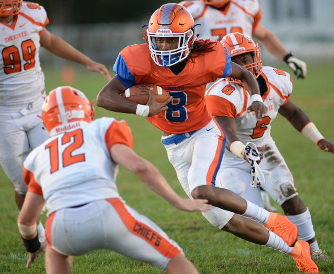 Millville's Maurice Smith carries the ball for a touchdown during Friday night's game against Cherokee at Millville Senior High School, Friday, Sept. 28, 2018.