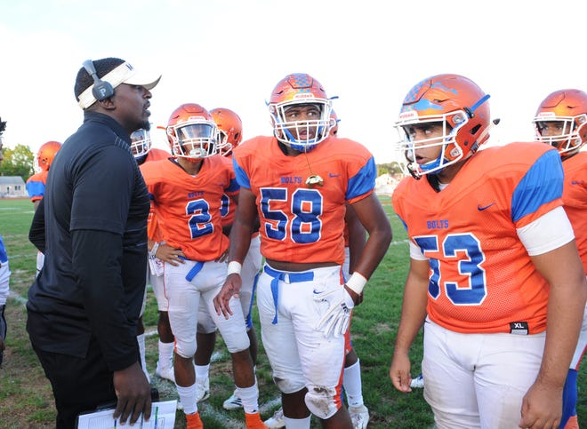 Millville's head coach Dennis Thomas calls a play during Friday night's game against Cherokee at at Millville Memorial High School, Sept. 28, 2018.