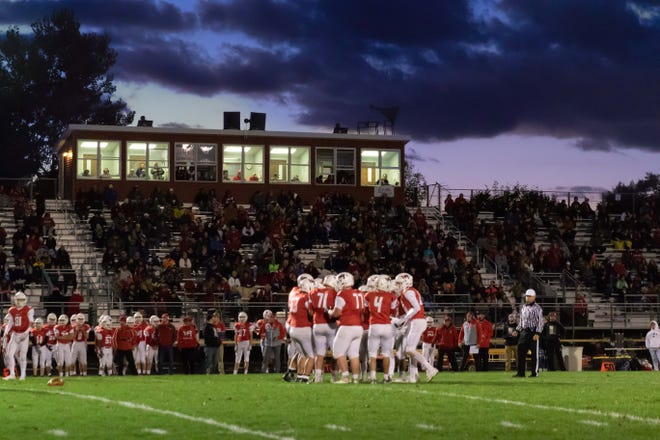 Community members pack the stands for the Lincoln High School Homecoming football game on Sept. 28, 2018, at South Wood County 2000 field in Wisconsin Rapids.