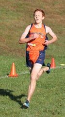 Horace Greeley's Joe O'Brien en route to winning the boys varsity 1 race at the Fred Gressler Cross-Country Run at White Plains High, Sept. 29, 2018.