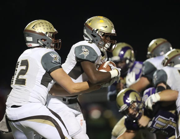 Clarkstown South defeats Clarkstown North 28-7 in the 20th playing of the supervisors cup at Clarkstown High School North in New City on Friday, September 28, 2018.