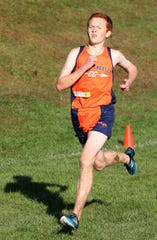 Joe O'Brien from Horace Greeley High School, won the boys varsity 1 race at the Fred Gressler Cross Country Run at White Plains High School, Sept. 29, 2018.