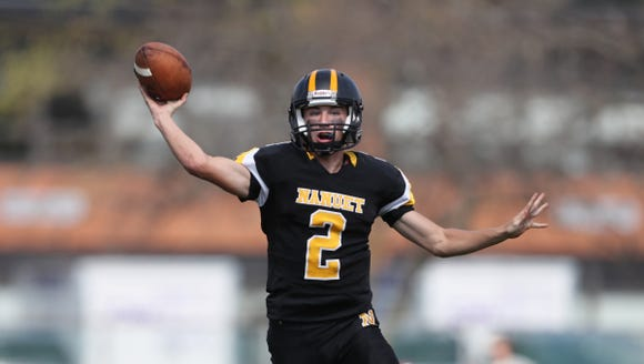 Nanuet quarterback Aiden Gallagher (2) fires a pass toward the sideline during their 14-0 win over Westlake at Nanuet High School on Sept. 29.