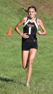 Brooke Sayre from Lakeland High School, placed second in the girls varsity 1 race at the Fred Gressler Cross Country Run at White Plains High School, Sept. 29, 2018.