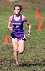 Teresa Deda from New Rochelle, wins the girls varsity 2 race at the Fred Gressler Cross Country Run at White Plains High School, Sept. 29, 2018.