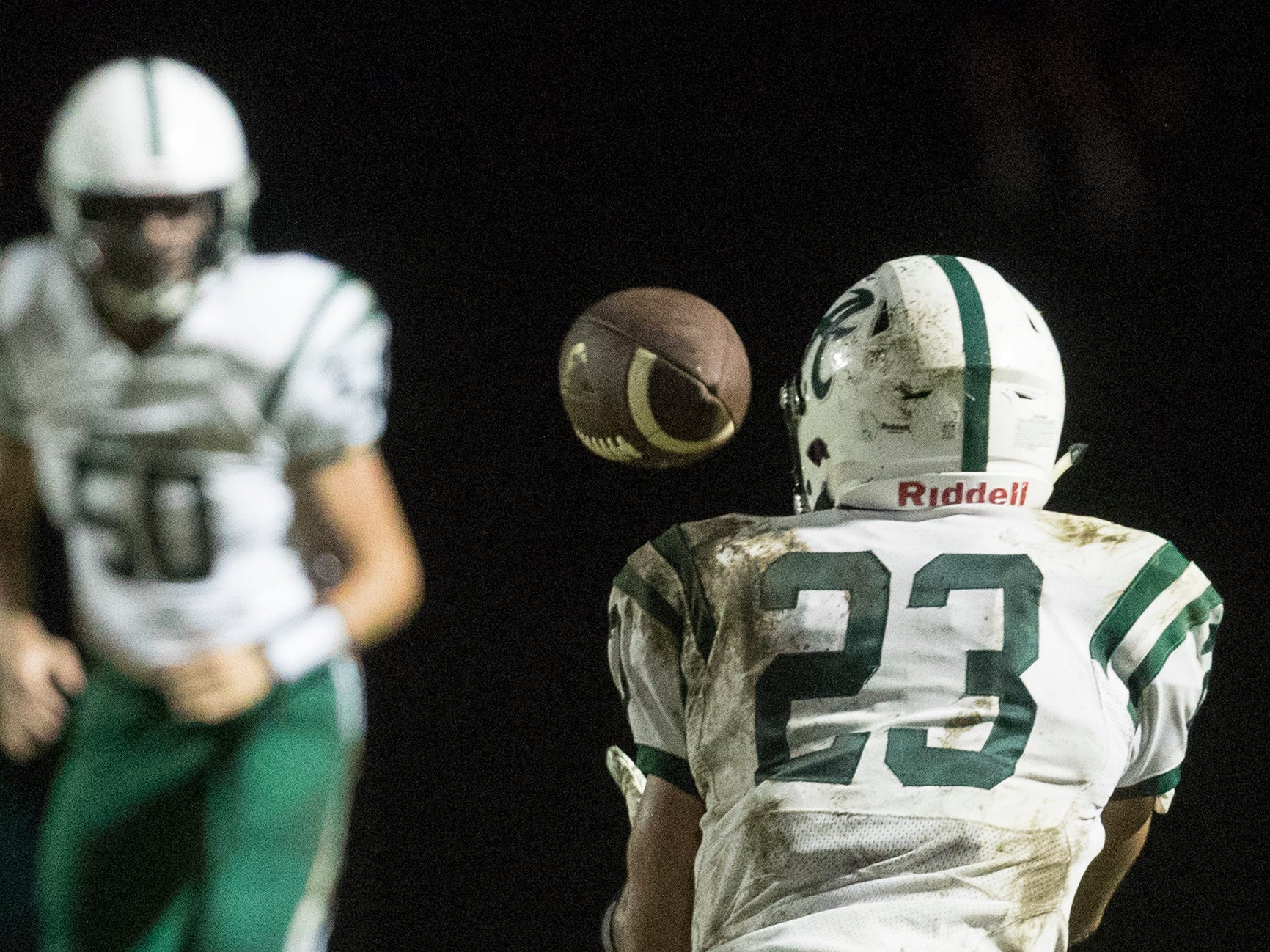Archmere's Darren DiRenzo (23) makes a reception Friday night against St. Mark's. Archmere defeated St. Mark's in overtime 34-28.