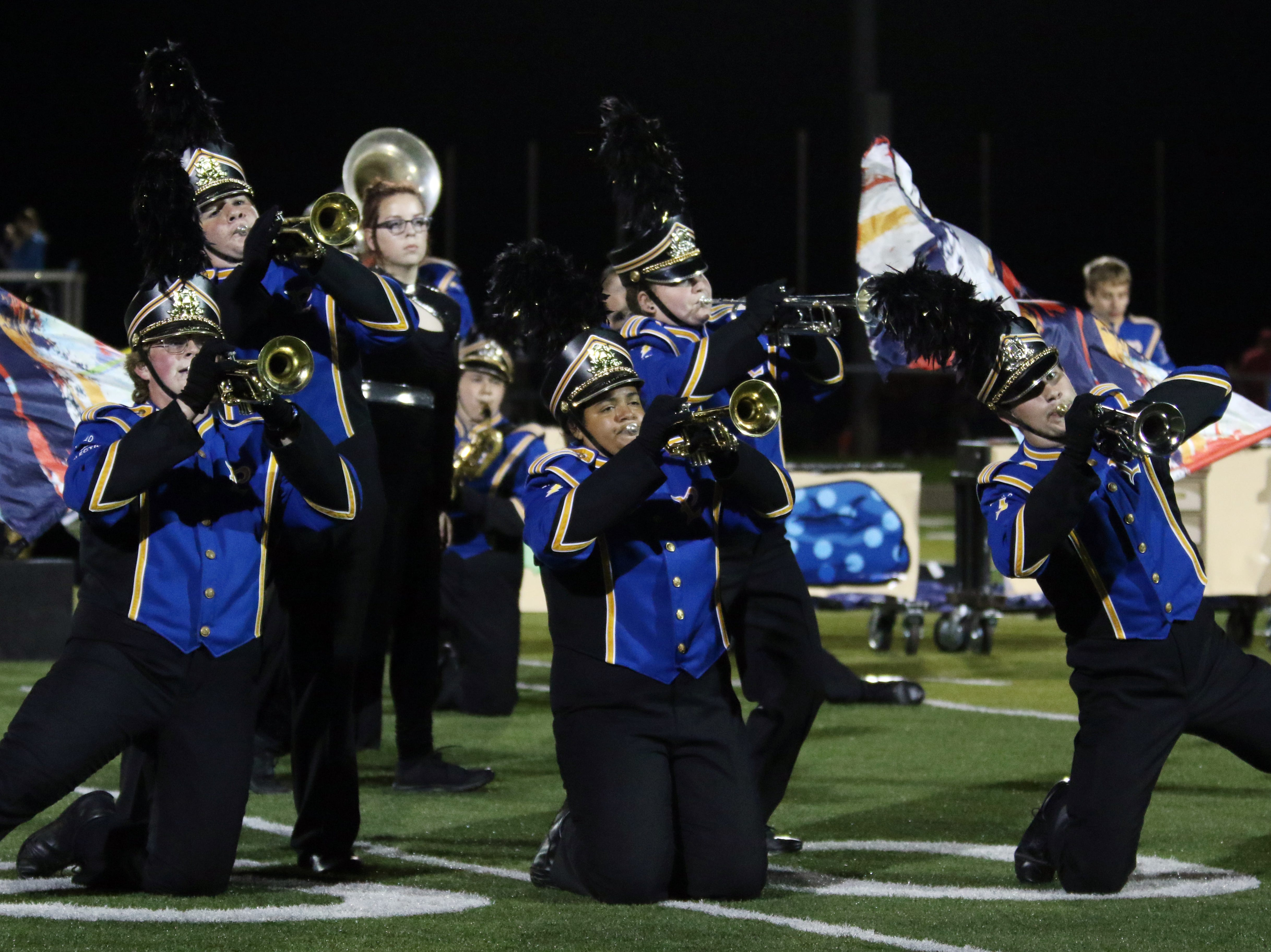 The Philo High School marching band performs during halftime of Friday's game at Sheridan.