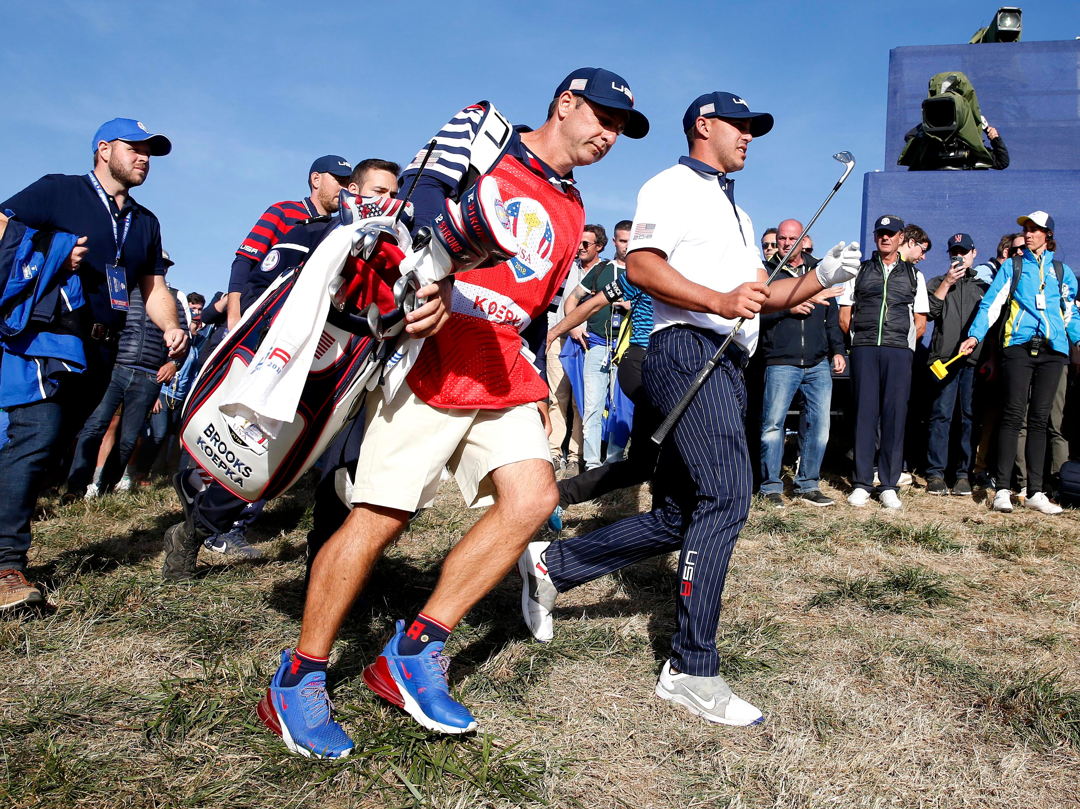 American Brook Koepka walks to the 17th hole during the Saturday afternoon matches.