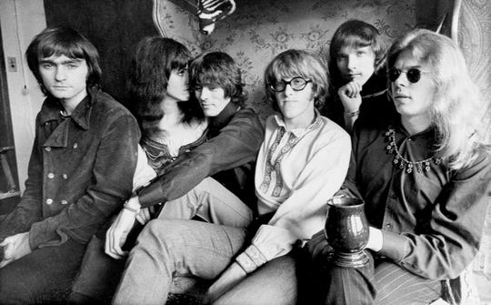 Jefferson Airplane in 1968 as they pose in their Pacific Heights, San Francisco apartment. They are, from left: Marty Balin, Grace Slick, Spencer Dryden, Paul Kantner, Jorma Kaukonen and Jack Casady.