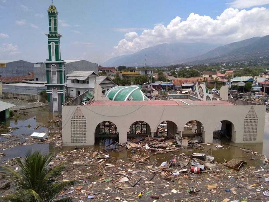 The ruin of a mosque badly damaged by earthquake and tsunami is seen in Palu, Central Sulawesi, Indonesia, Saturday. The powerful earthquake rocked the Indonesian island of Sulawesi on Friday, triggering a 3-meter-tall (10-foot-tall) tsunami that an official said swept away houses in at least two cities.