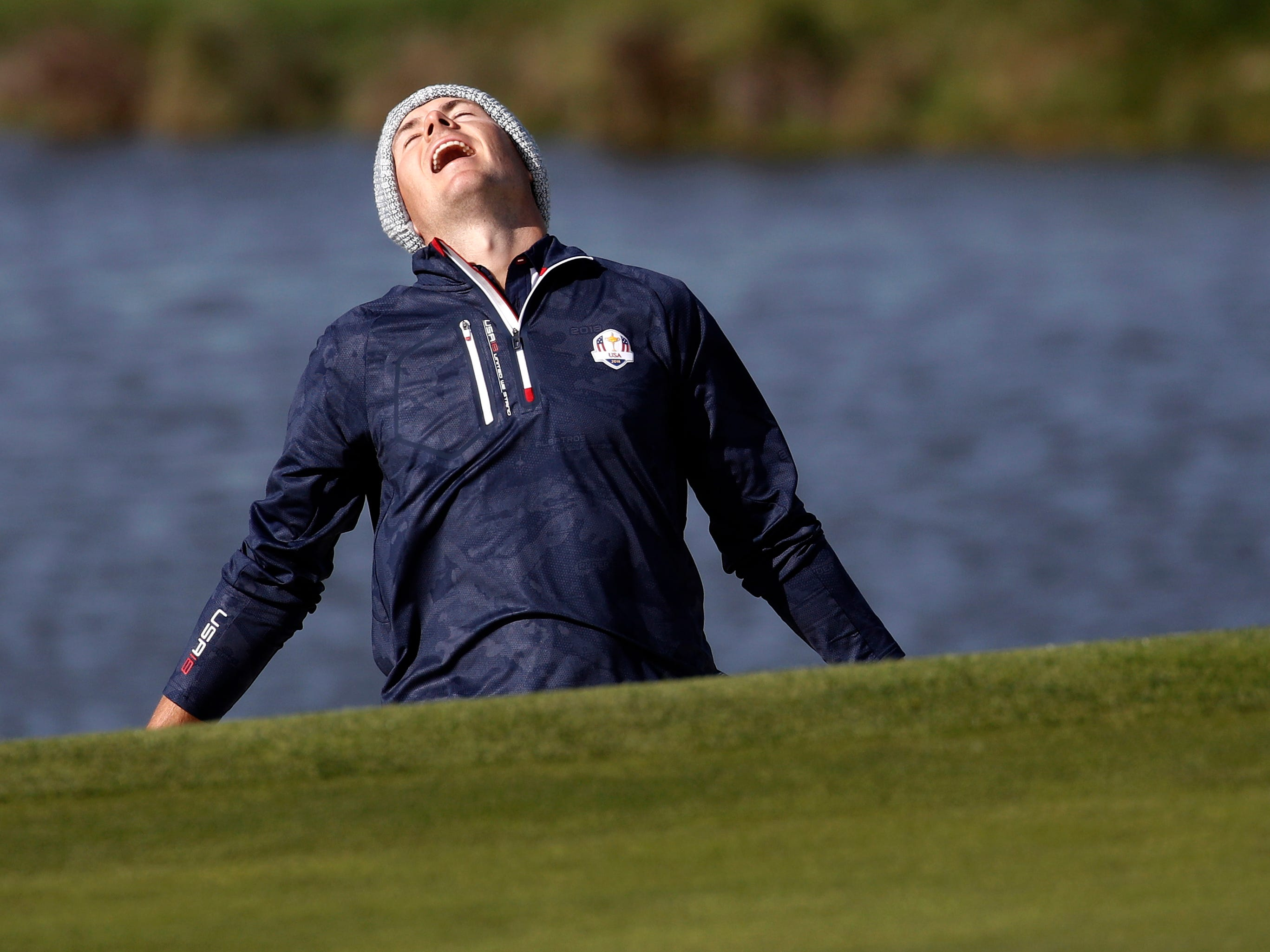 Jordan Spieth reacts to a shot during his morning fourball match on Saturday.