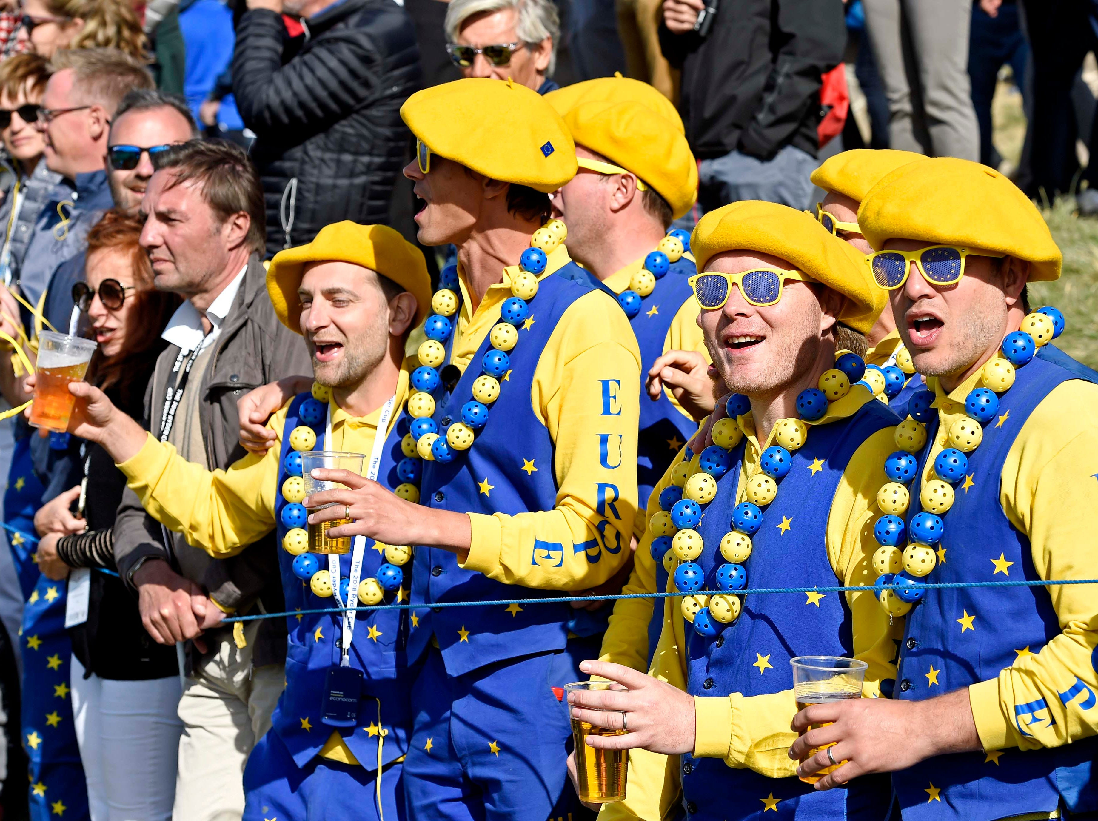 Europe fan cheer on the 14th hole Saturday.