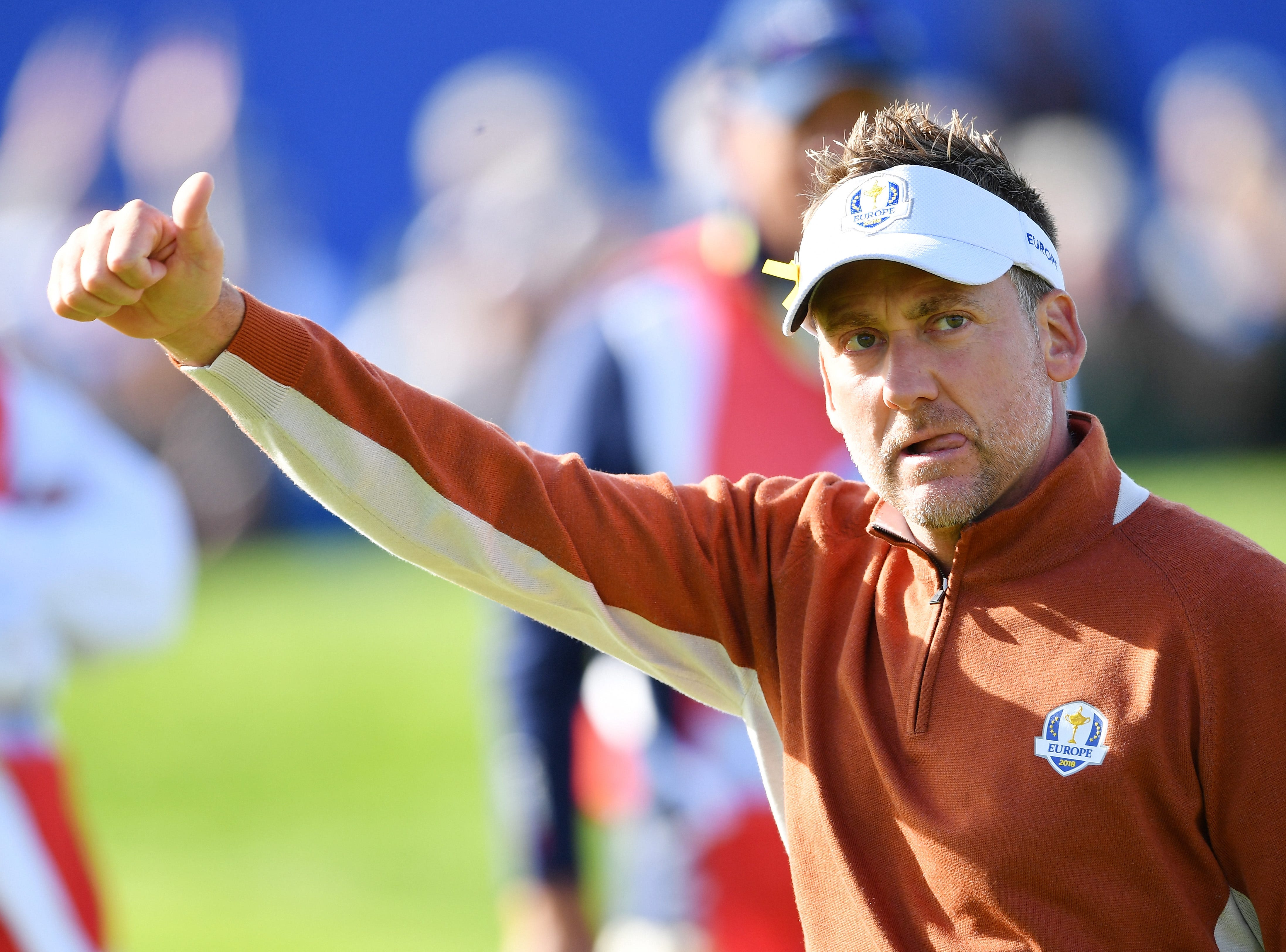 Ian Poulter of Europe celebrates on the seventh during the morning fourball matches of the 2018 Ryder Cup at Le Golf National.