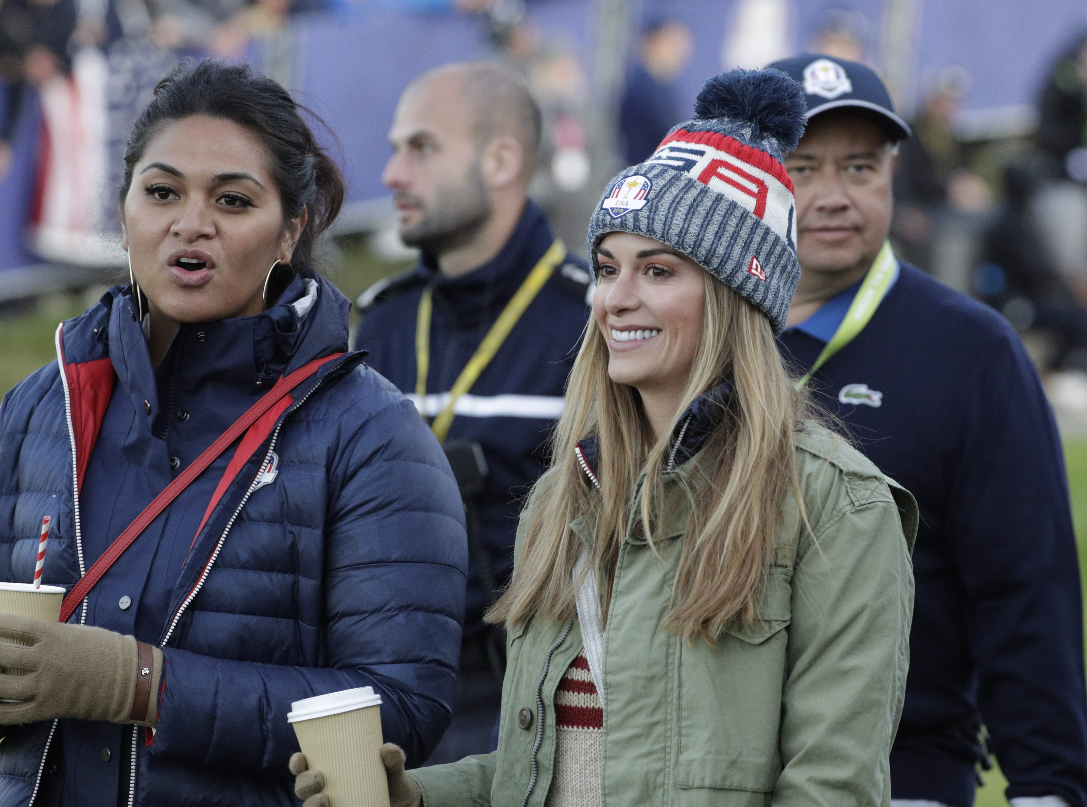 Jena Sims (right), the girlfriend of  Brooks Koepka, and Alayna Finau, the wife of Tony Finau, attend the fourball matches on the second day of the 42nd Ryder Cup.