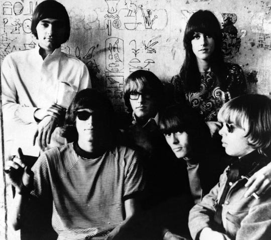 Members of the rock and roll group Jefferson Airplane are shown in 1966. At top right is vocalist Grace Slick. From left are Marty Balin, Jorma Kaukonen, Paul Kantner, Spencer Dryden and Jack Casady.