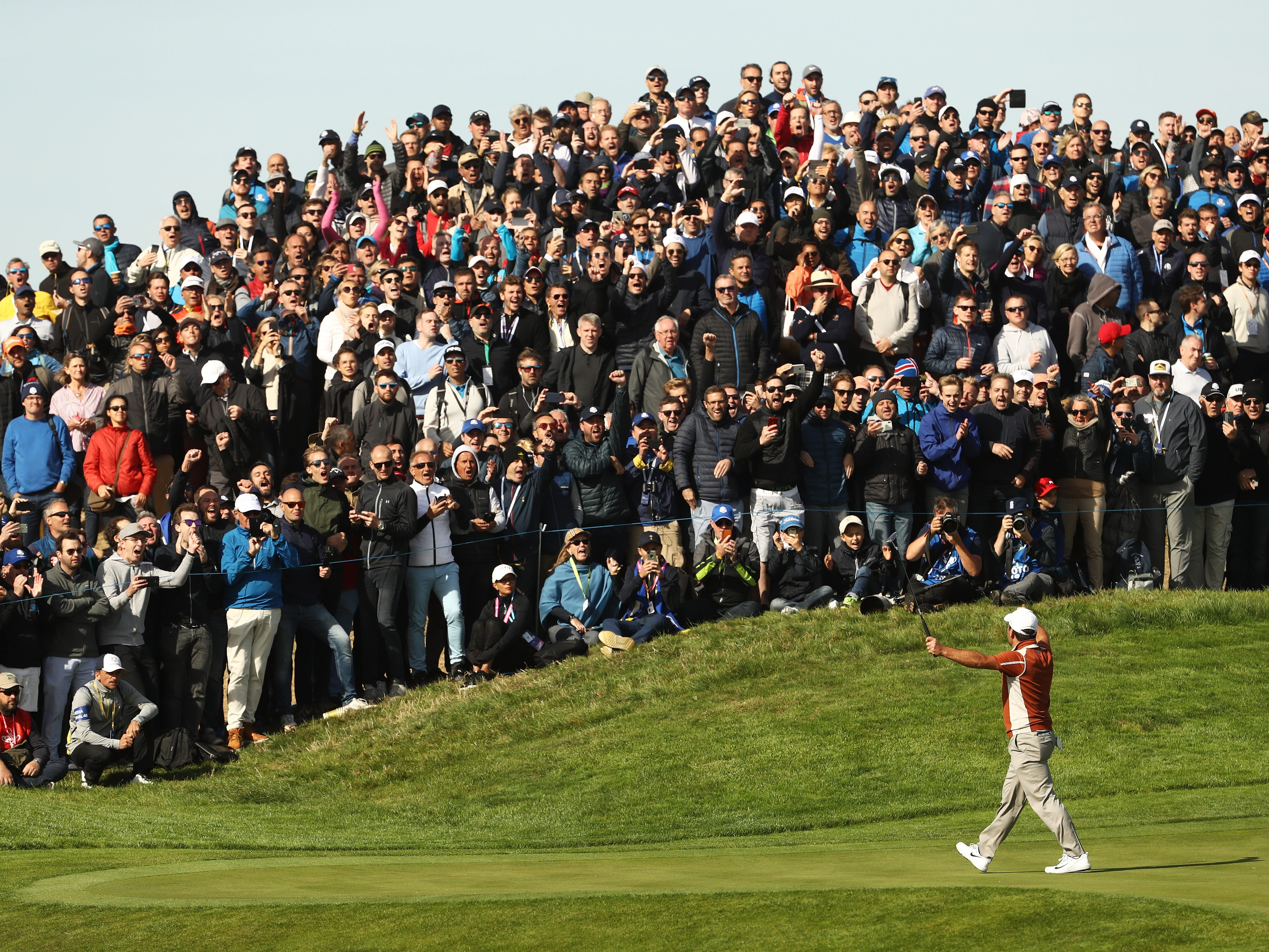 Francesco Molinari celebrates during the morning fourball matches on Saturday.