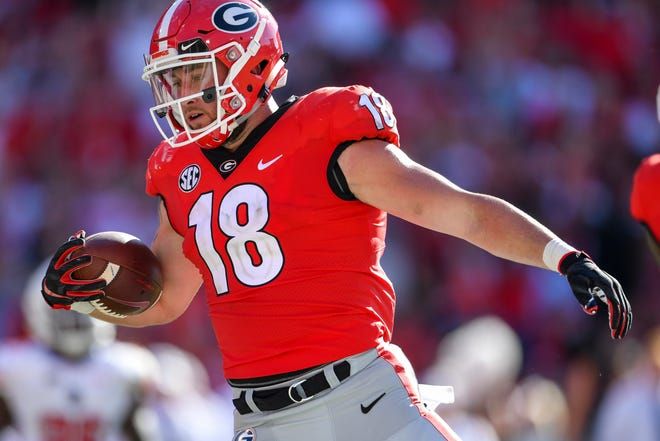 Georgia Bulldogs tight end Isaac Nauta (18) scores a touchdown after a catch against the Austin Peay Governors during the second half at Sanford Stadium.