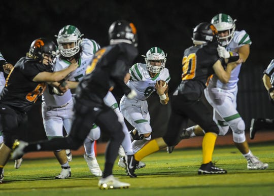 Brick;s Jimmy Leblo (No. 8), shown running the ball against Middletown North, is one of the nominees for the Asbury Park Press' Shore Conference Football Player of the Week.
